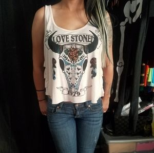 Forever 21 Pink Love Stones Cropped Tank Top